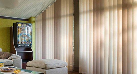 Lamellenvorhang Vertikal Lamellen Jalousie Beige Kettenzug für Büro Fenster Heim